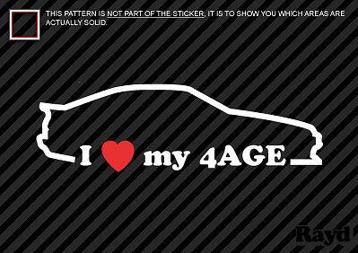 I Love my 4AGE Sticker Decal Die Cut hachi ae86 4ag #2