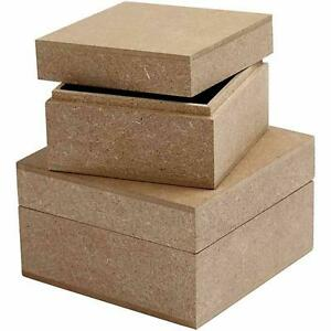 2 square wooden storage boxes 7cm 9cm mdf lids craft