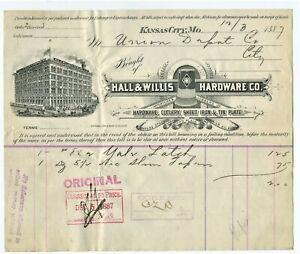 1887-GRAPHIC-EARLY-KANSAS-CITY-MISSOURI-BILLHEAD-HALL-AND-WILLIS-HARDWARE