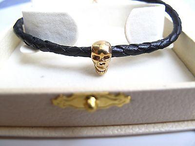 Skull Bracelet Leather punk biker leather 14 k gold cuff men bangle new braided