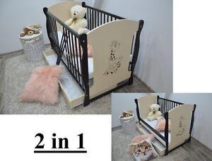 BABY Cot Bed Drawer Wood White Walnut Mattress Converts to Junior Toddler