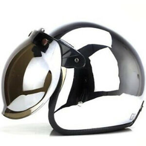 DOT-Motorcycle-Helmet-Open-Face-w-Sun-Visor-Chrome-Silver-Street-Bike-Helmet-XXL