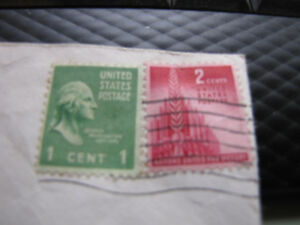 U-S-Used-039-039-Nations-United-for-Victory-039-039-2-Cent-Stamp-amp-1-GEORGE-WASHINGTON-1949