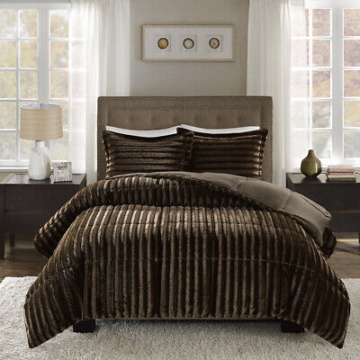 ~ ULTRA SOFT PLUSH COZY LUXURY CHOCOLATE BROWN CORDUROY FAUX FUR COMFORTER SET