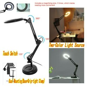 5X LED DESK TABLE CLAMP MOUNT MAGNIFIER LIGHT LAMP MAGNIFYING GLASS LENS DIOPTER