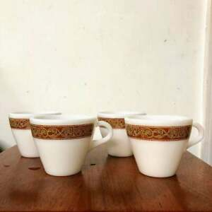 Vintage Pyrex Bronze Dinnerware Restaurant Style Set of 4 Coffee Mugs