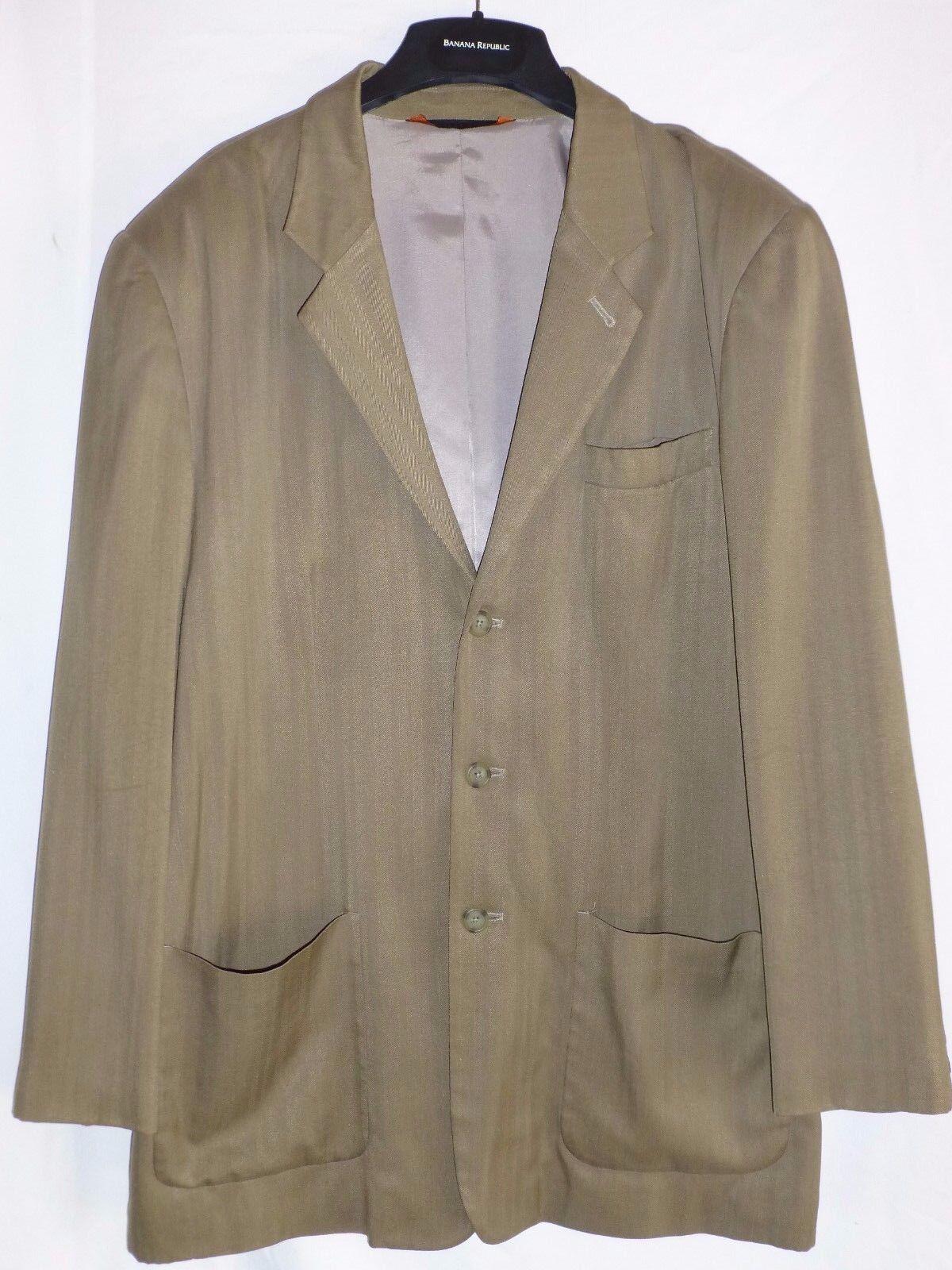 New 44 Khaki Tan 100% SILK Herringbone Sport Coat Blazer Axis Nordstrom  54