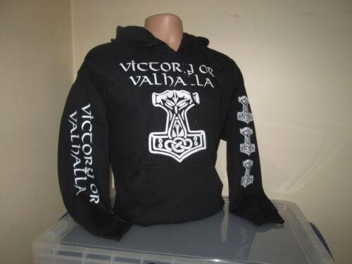 BLACK VIKING HAMMER MJOLNIR VICTORY OR VALHALLA HOODY SWEATSHIRT