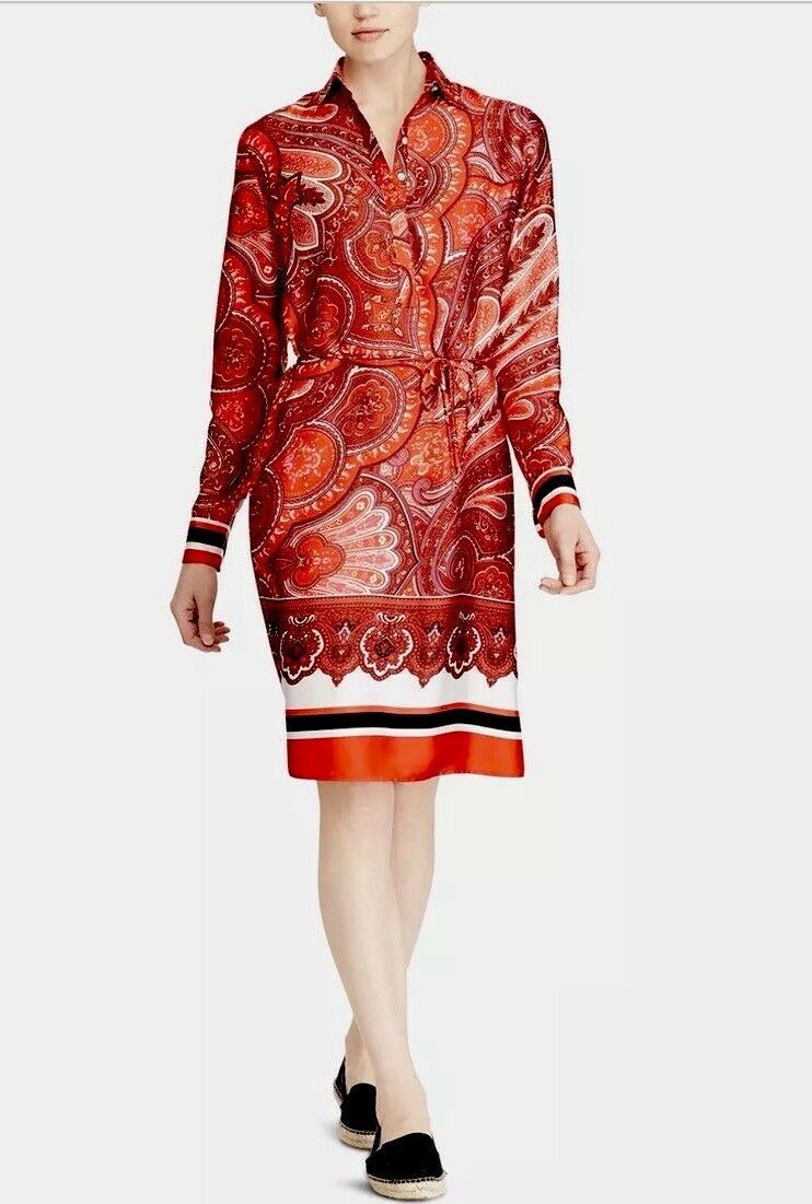 NWT RALPH LAUREN PAISLEY PRINT RED MULTI SILKY BELTED SHIRT DRESS SIZE 4