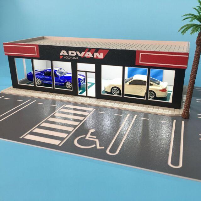 Outland Parking lot Model 1:64 Scale ADVAN 4S Shop Model w/10 Parking Space
