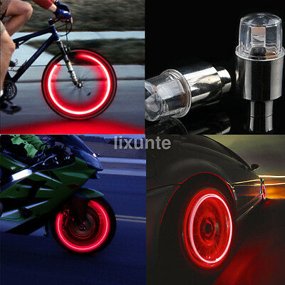 Lot Valve Stem Cap Neon LED Light For Bike Bicycle Wheel Tire Motorcycle Car