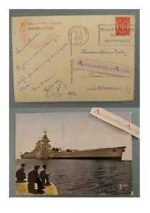 CPSM-1957-Toulon-Bateau-guerre-Le-Richelieu-Cachet-Apprentis-Mecaniciens-Vernon