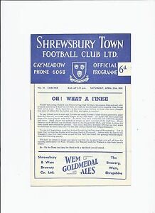 Shrewsbury Town v Chester 25 April 1959 - Tilbury, United Kingdom - Shrewsbury Town v Chester 25 April 1959 - Tilbury, United Kingdom