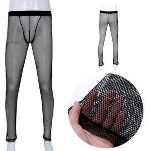 Men-039-s-Sissy-See-Through-Mesh-Fishnet-Long-Johns-Pants-Bottom-Lingerie-Underwear