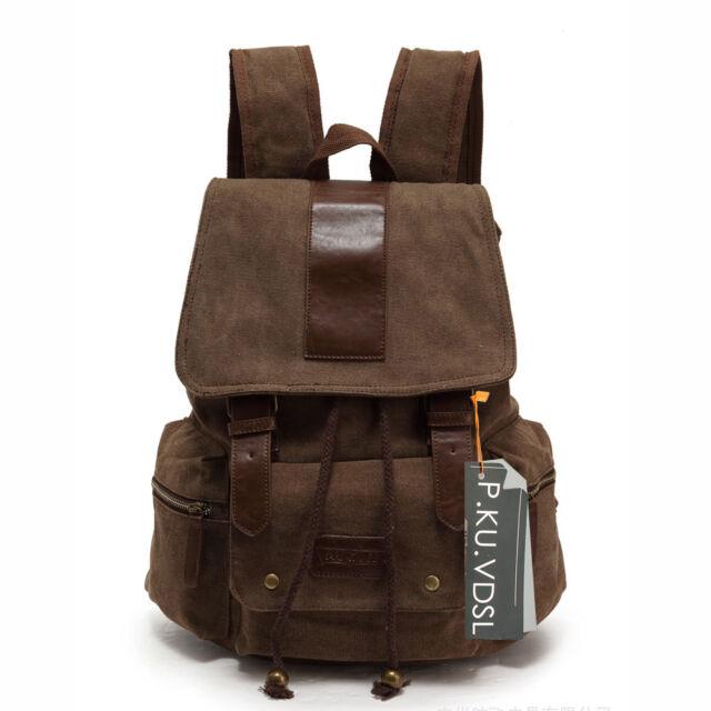 Womens Mens Canvas Backpack Casual Shoulder School Bag Satchel Travel Rucksack