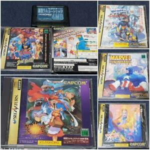 SEGA-SATURN-Marvel-Super-Heroes-X-Men-Street-Fighter-Vampire-Hunter-etc-Lot-of-5