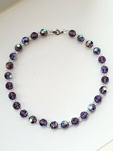 "Vintage 1950s 15"" Sparkly Aurora Borealis Purple Faceted Glass Necklace"