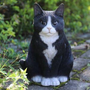 Image Is Loading NEW Sitting Large Black Cat Figurine Life Like