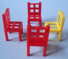Teeny Vintage Plastic 4 Pc Set Dollhouse Miniature Chairs - Too Tiny for Barbie!