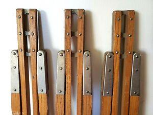 Vintage-Wooden-Tripod-Legs-w-Heart-Shaped-Tighteners-For-Lamp-Camera-Telescope