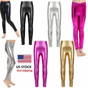 US Girls Gymnastics Ballet Bodysuit Dance Pants Legging Kids Metallic Dancewear