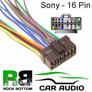 sony xr series car radio stereo pin wiring harness loom bare image is loading sony xr series car radio stereo 16 pin