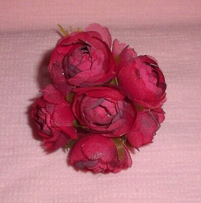 PINK /& LAVENDER Velvet Millinery CABBAGE ROSES 6 flower Cissy DOLL hats /& crafts
