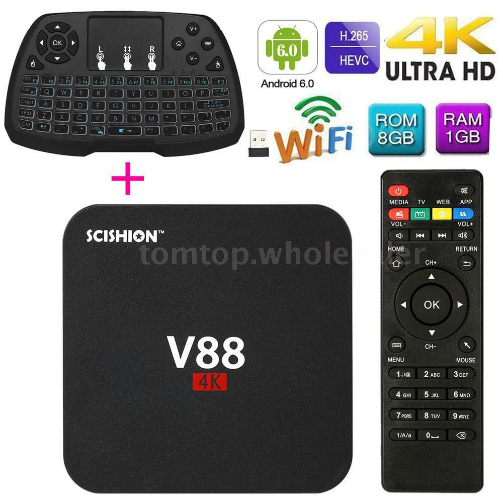V88 Smart Android 7.1 TV Box RK3229 Quad Core WiFi HD 1G 8G Media With Keyboard android box core media quad rk3229 smart v88 wifi with