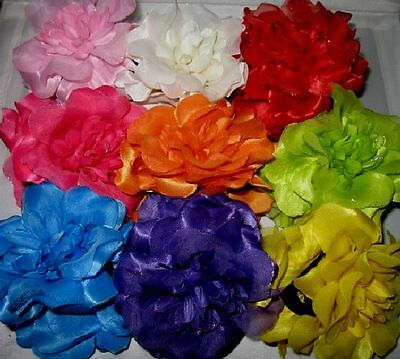 NEW PLASTIC HAIR CLAW SILK FLOWERS & GLITTER SELECT COLOR SAVE on COMBINE SHIP