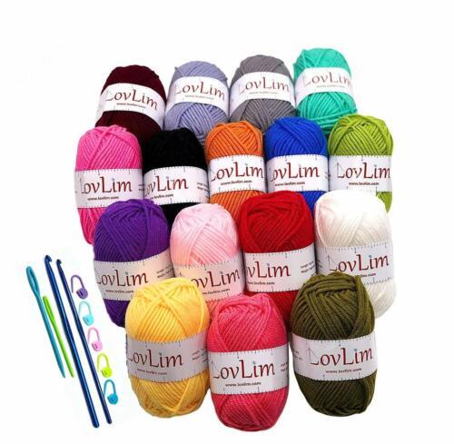 Crochet Yarn Skeins PACKS Acrylic Cotton DIY Pastel Hooks Needles Craft COLORS