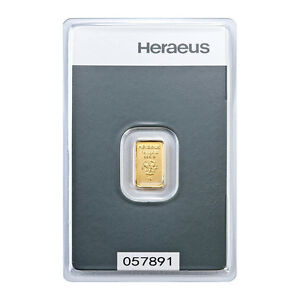 1 Gramm Goldbarren Heraeus Gold 999,9 Feingold Barren - 5 Euro Rabatt ab 3 St.