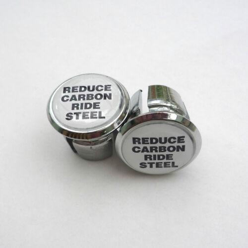 Vintage Style /'Reduce Carbon Ride Steel/' Retro Racing Bar Plugs Steel Riders!