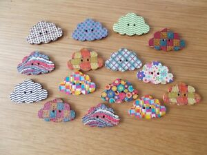 10 WOOD SEWING BUTTON CLOUD SHAPE  ASSORTED PATTERN SHAPED CRAFTS/SCRAP BOOKING