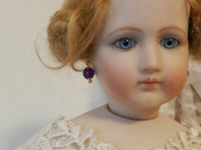 Real Amethyst Earrings for BeBe Bisque,German Dolls French