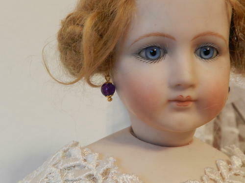 Real Amethyst Earrings for BeBe French Bisque,German Dolls