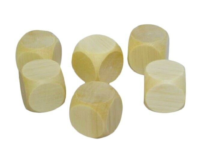 500 Wooden Plain Dice Dices Cube Cubes Blank Plain Unpainted Wood Six Sided 40mm