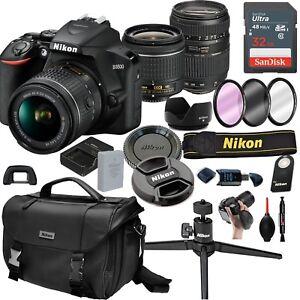 Nikon-D3500-Digital-SLR-Camera-w-18-55mm-VR-Tamron-70-300mm-21pc-Kit
