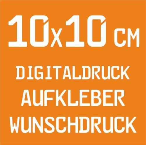 20 Stück 10x10cm Digitaldruck Aufkleber Wunschdruck drucken Folie Sticker Label