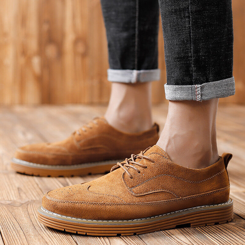 Men Faux Suede Wing Tip Pointy Toe Oxford British Casual Work Party Formal shoes