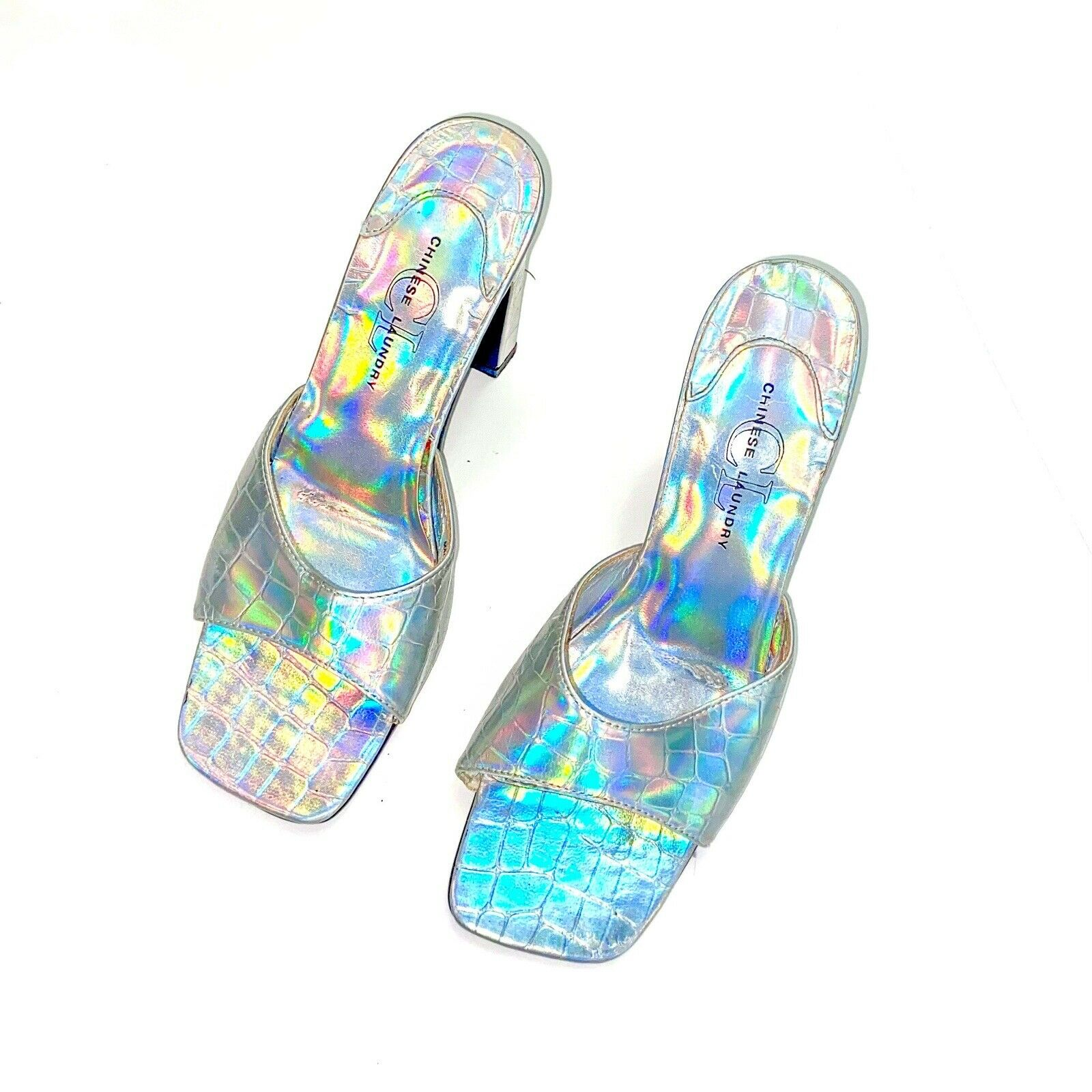 y2k 90s square toe iridescent mules - size 7 - image 2