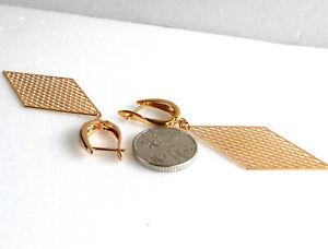 Women-Lady-Girl-18K-Yellow-Gold-Plated-67mm-Long-Big-Dangle-Drop-Earrings-UK