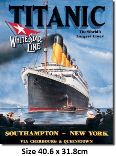Titanic White Star Tin Sign 680  Large Variety - Made in USA