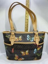 6b0596bcad51d GIANI BERNINI - BLOCK SIGNATURE BROWN TAN COLORFUL BUTTERFLY HANDBAG 139.50