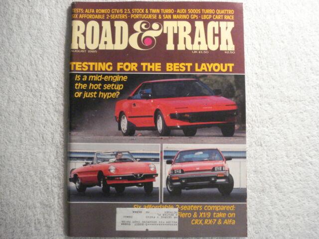 Road & Track August 1985 Alfa Romeo Audi 5000S AMC Jeep Honda VW Gulf Syncro
