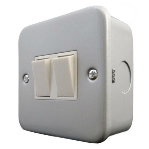 Metalclad Twin 2 Gang Light Switch  with Surface Mounting Box