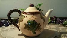 "Beautiful! ""Pacific Rim"" 2pc Tea Pot Hand Painted Grape Vine China MINT Cond."