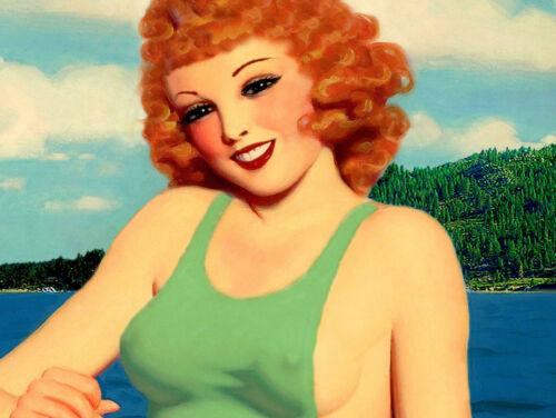 Lake Almanor California Retro PinUp Travel Poster Redhead Art Deco Print 243