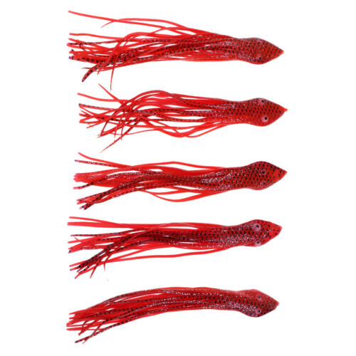 5x Soft Fishing Lures Octopus Trolling Squid Skirt Lure Artificial Bait 15cm