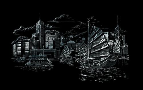 Royal /& Langnickel FAM10 Kratzbild silber Hafen von Hongkong