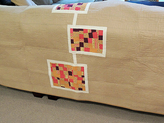 Modern Quilt   Bed Scarf  Tan Neutral   Brights